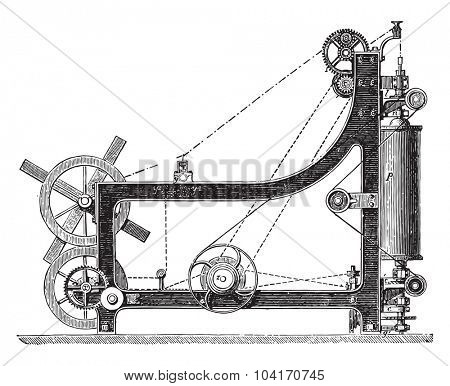 Making machine rope yarn, called a swing bridge, vintage engraved illustration. Industrial encyclopedia E.-O. Lami - 1875.