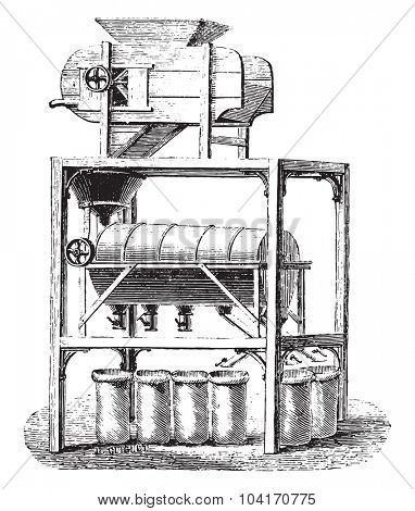 Blower Screener coffee divider, vintage engraved illustration. Industrial encyclopedia E.-O. Lami - 1875.