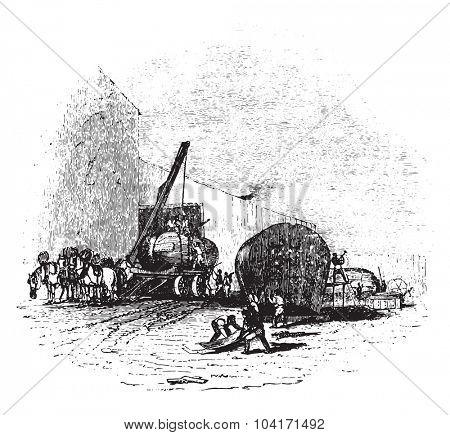 Boiler manufactory, vintage engraved illustration.