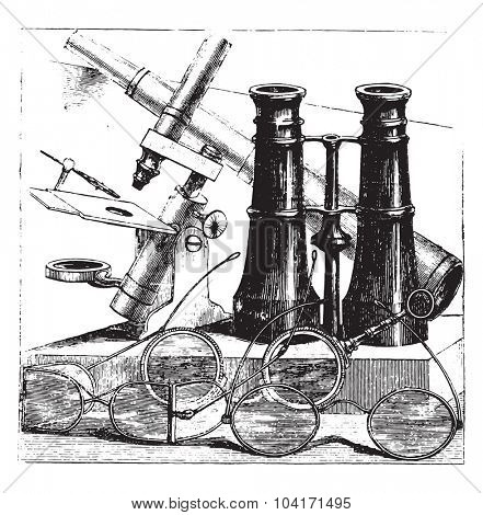 Spectacles, vintage engraved illustration.
