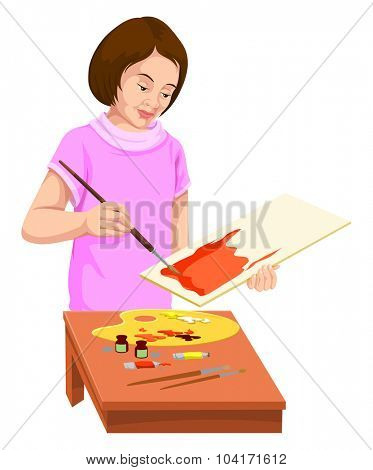 Vector illustration of woman painting on canvas.