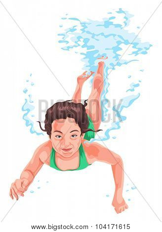 Vector illustration of woman practicing underwater swimming.