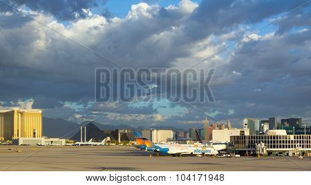 Cloudly morning at Las Vegas Airport