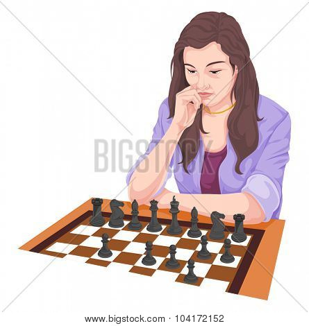 Vector illustration of woman playing chess.
