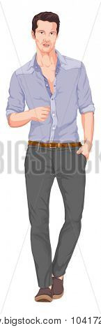 Vector illustration of handsome man with hand in pocket
