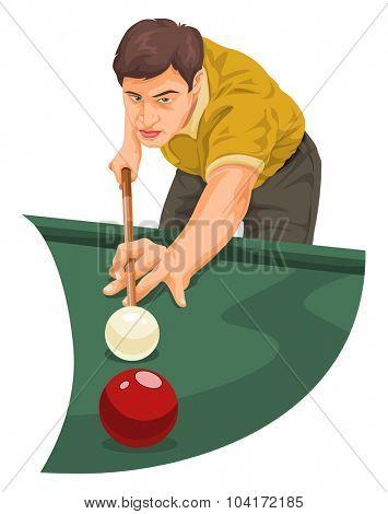 Vector illustration of man playing billiards.