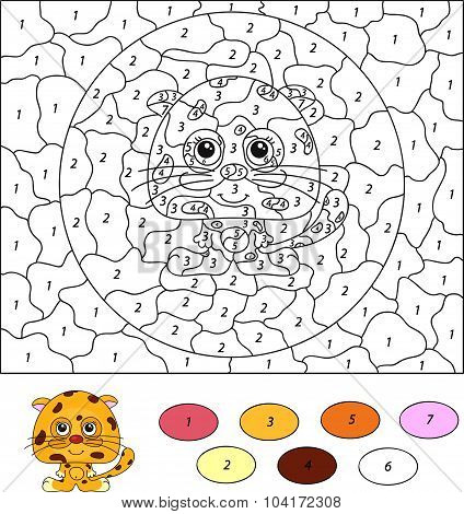 Color By Number Educational Game For Kids. Cartoon Leopard. Vector Illustration