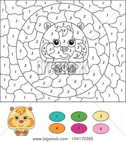 Color By Number Educational Game For Kids. Cartoon Hamster. Vector Illustration