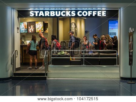 Busy Starbucks Coffee Shop at Airport