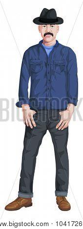 Vector illustration of stylish man isolated on white.