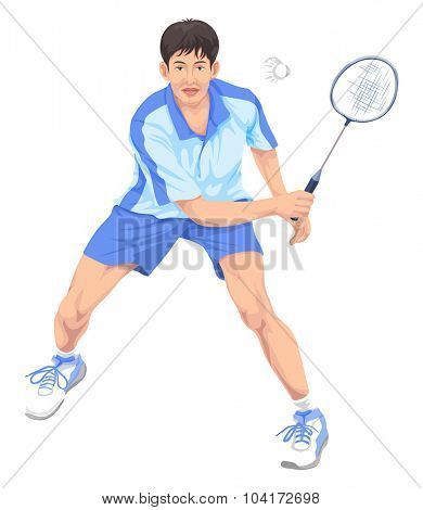Vector illustration of teenager playing badminton.