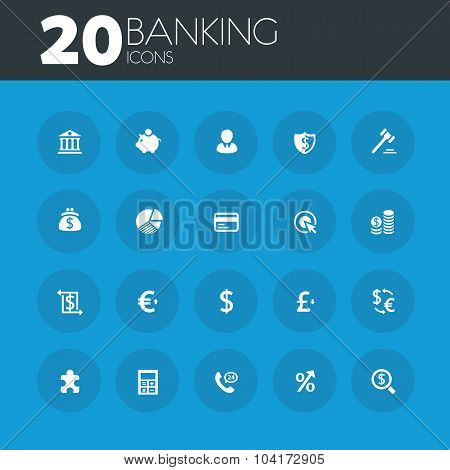 Banking icons on round blue buttons