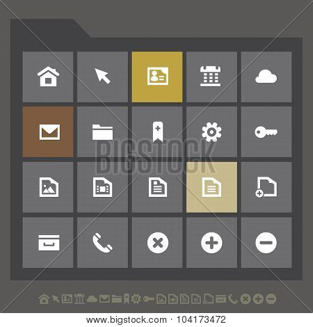 Simple web icons collection, flat gray serie