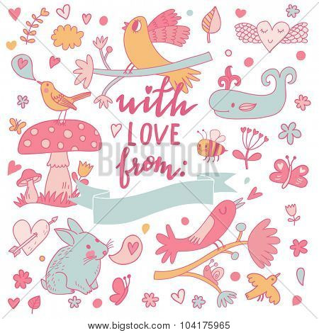 With love from... Lovely cartoon card in vector. Romantic set with birds and animals, flowers in pink colors