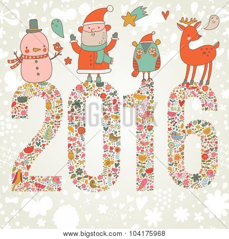 Lovely Happy New Year and Merry Christmas card in vector. Bright funny cartoon card with Santa Claus, Deer, Penguin and snowman. 2016 holiday background