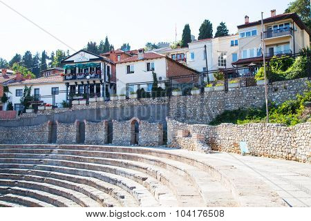 Old amphitheater in Ohrid, Republic of Macedonia and houses near it