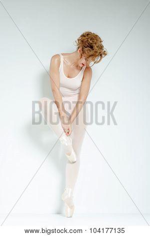 Ballet Dancer. Train In The Studio. Workout.
