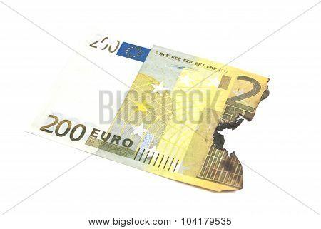 Burnt Bills Of Two Hundred Euro