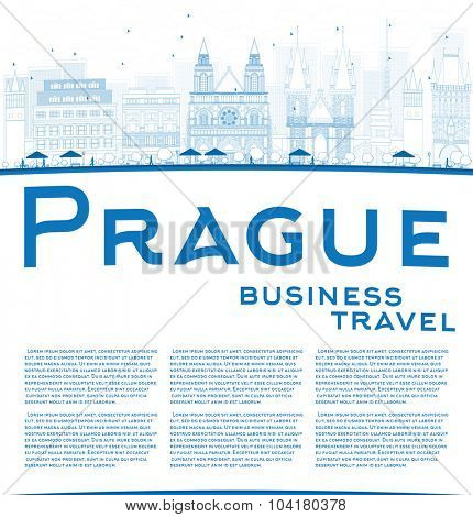 Outline Prague skyline with blue landmarks and copy space. Vector illustration. Business and tourism concept with old buildings. Image for presentation, banner, placard or web site