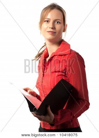 Happy Businesswoman With Folder