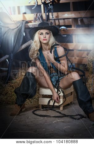 Beautiful blonde girl with country look, indoors shot in stable, rustic style. Attractive woman