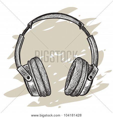 vector hand-drawn sketch of headphones against grunge background