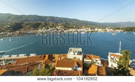 Panorama of Poros island, Greece.