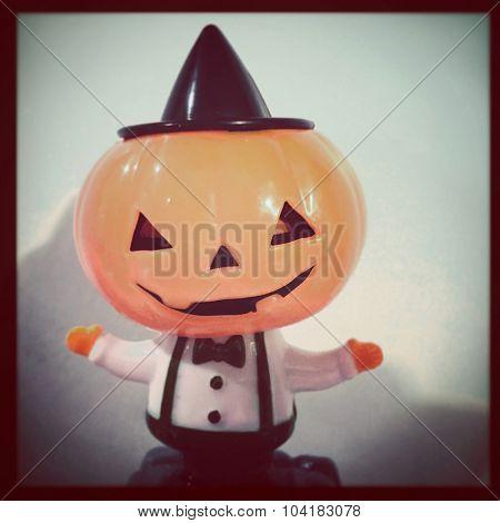 Vintage Halloween scarecrow jack o lantern - Instagram filtered