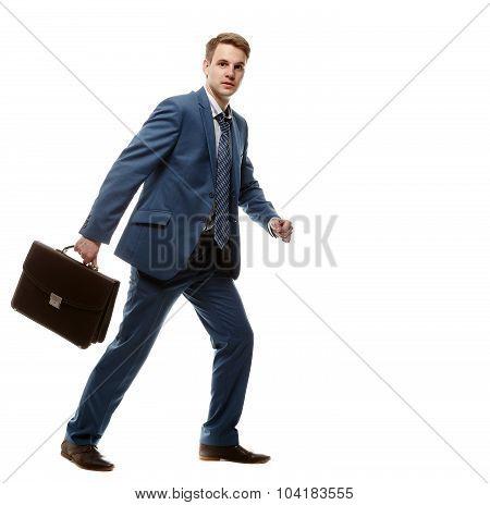 Running Businessman With Briefcase