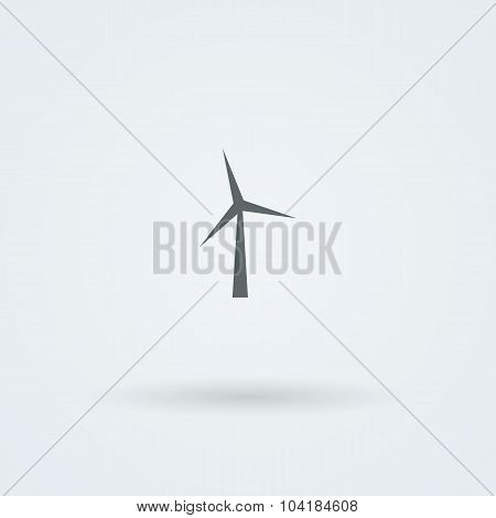 Minimalistic, simple icon with the image of the wind turbine.