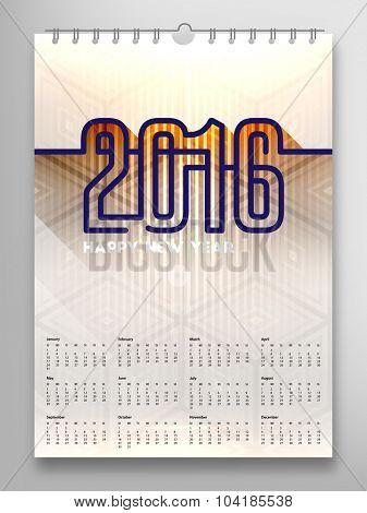 Calendar 2016, Triangle Geometric Pattern Template. Background Design, vector illustration