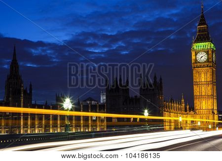 Light Trails On Westminster Bridge In London