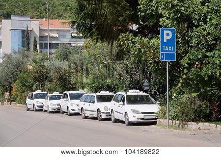 Budva, Montenegro, September, 1, 2015: Taxi cars on the parking in Budva, Montenegro