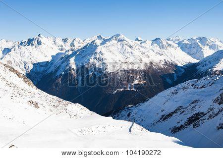 Winter Landscape Of A Ski Resort In The Alps