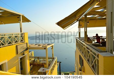 SANTORINI, GREECE - AUGUST 07, 2015: Santorini island architecture. The traditional architecture of Santorini is similar to that of the other Cyclades, with low-lying cubical houses