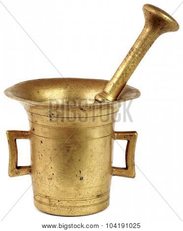 Old Mortar and Pestle Isolated with Clipping Path