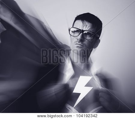 Strong Superhero Businessman Lightning Bolt Concept