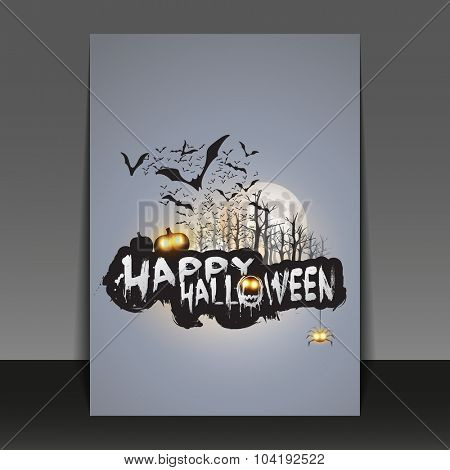Happy Halloween Card, Flyer or Cover Template - Flying Bats Over the Autumn Woods and Various Spooky Creatures with Glowing Eyes - Vector Illustration
