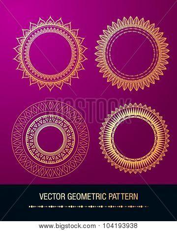 Geometric gold mandala element made in vector. Vintage decorative elements. Islam, Arabic, Indian, Tribal motifs.