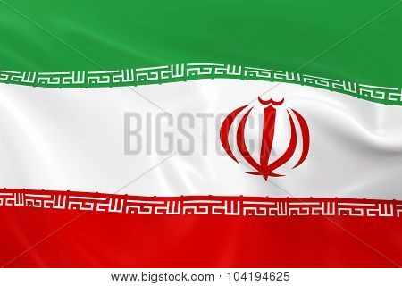 Waving Flag Of Iran - 3D Render Of The Iranian Flag With Silky Texture