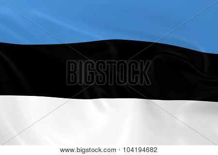 Waving Flag Of Estonia - 3D Render Of The Estonian Flag With Silky Texture
