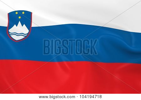 Waving Flag Of Slovenia - 3D Render Of The Slovenian Flag With Silky Texture