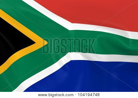 Waving Flag Of South Africa - 3D Render Of The South African Flag With Silky Texture