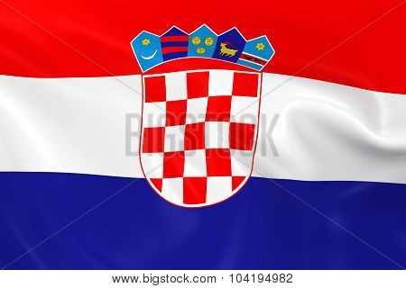 Waving Flag Of Croatia - 3D Render Of The Croatian Flag With Silky Texture