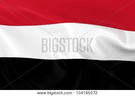 Waving Flag Of Yemen - 3D Render Of The Yemeni Flag With Silky Texture