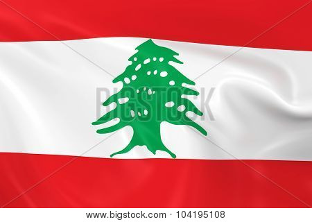 Waving Flag Of Lebanon - 3D Render Of The Lebanese Flag With Silky Texture