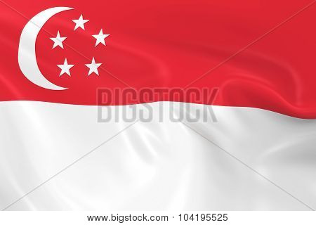 Waving Flag Of Singapore - 3D Render Of The Singaporean Flag With Silky Texture