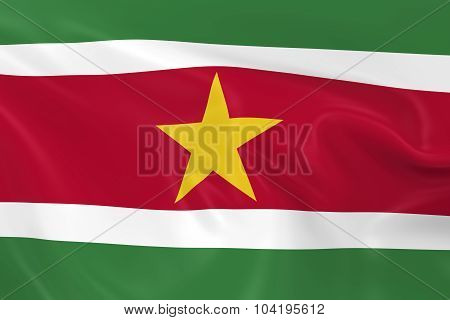 Waving Flag Of Suriname - 3D Render Of The Surinamese Flag With Silky Texture