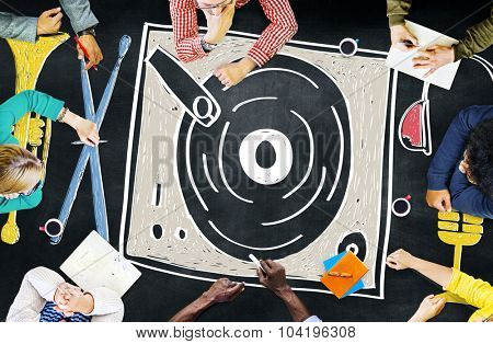 Music Multi Media Turntable Entertainment Concept