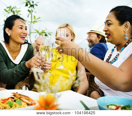 Diversity Friends Hanging out Party Dining COncept